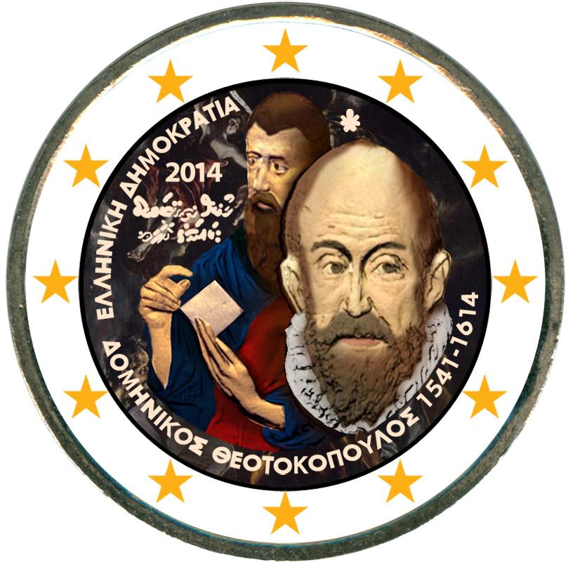 Монета номиналом 2 евро 2014 Греция, Доминикос Теотокопулос (Эль Греко) (цветная) мануэль сото эль сордера grands cantaores du flamenco el sordera volume 16