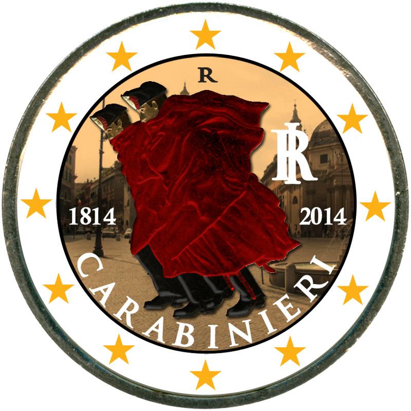 Монета номиналом 2 евро 2014 Италия 200 лет карабинерам (цветная) монета номиналом 2 евро 2017 бельгия 200 лет университету гента цветная