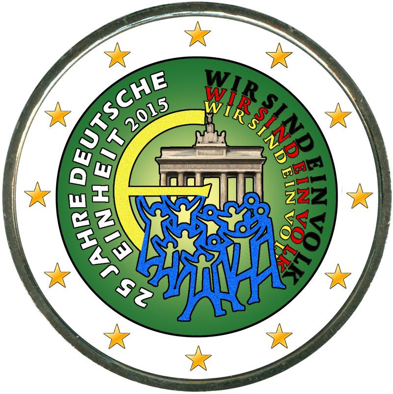 Монета номиналом 2 евро 2015 Германия, 25 лет объединения Германии (цветная) монета номиналом 2 евро 2015 финляндия ян сибелиус цветная