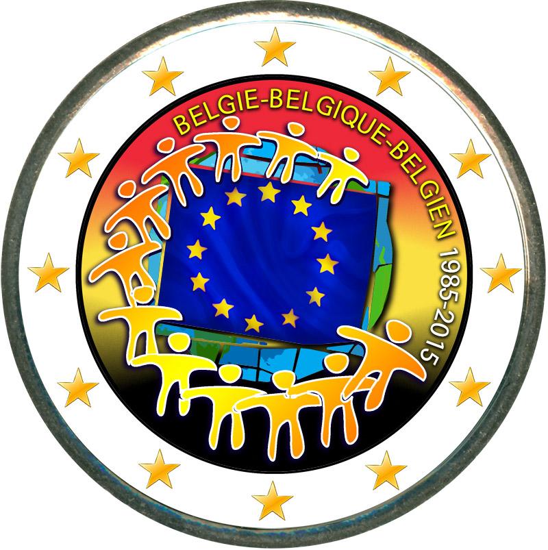 Монета номиналом 2 евро 2015 Бельгия 30 лет флагу ЕС (цветная) монета номиналом 2 евро 2017 бельгия 200 лет университету гента цветная