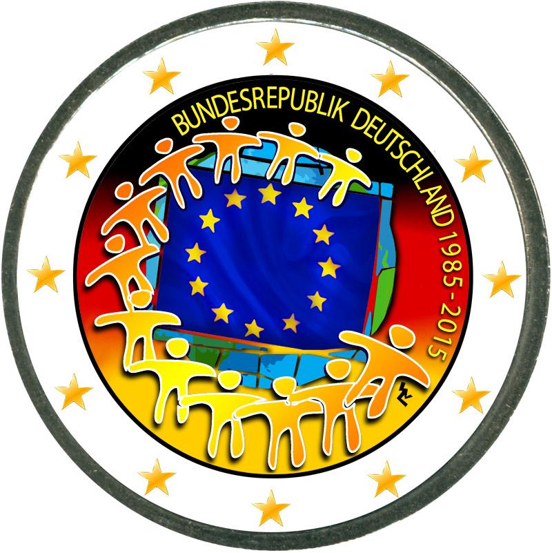 Монета номиналом 2 евро 2015 Германия 30 лет флагу ЕС (цветная) монета номиналом 2 евро 2015 финляндия ян сибелиус цветная