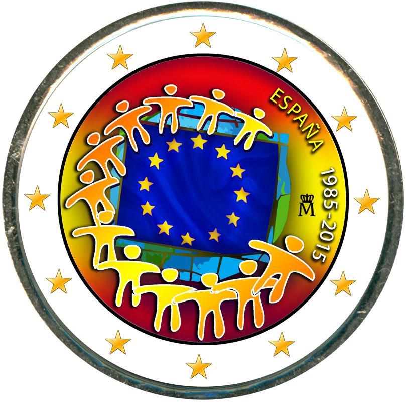 Монета номиналом 2 евро 2015 Испания 30 лет флагу ЕС (цветная)18878Это частная работа. Цветное покрытие нанесено способом ультрафиолетовой печати. Монета цветная с одной стороны