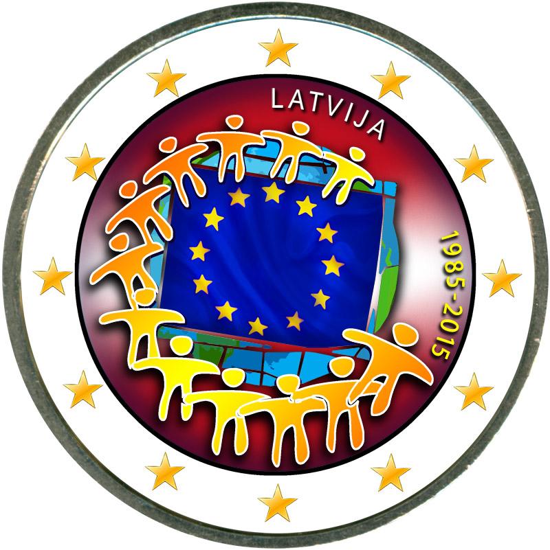 Монета номиналом 2 евро 2015 Латвия 30 лет флагу ЕС (цветная) монета номиналом 2 евро 2015 финляндия ян сибелиус цветная