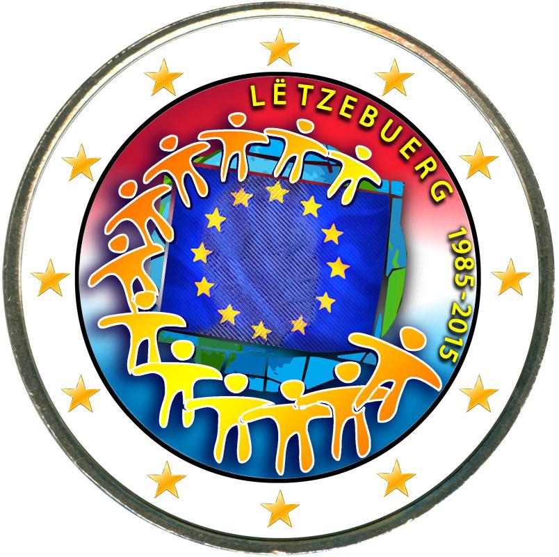 Монета номиналом 2 евро 2015 Люксембург 30 лет флагу ЕС (цветная) монета номиналом 2 евро 2015 финляндия ян сибелиус цветная