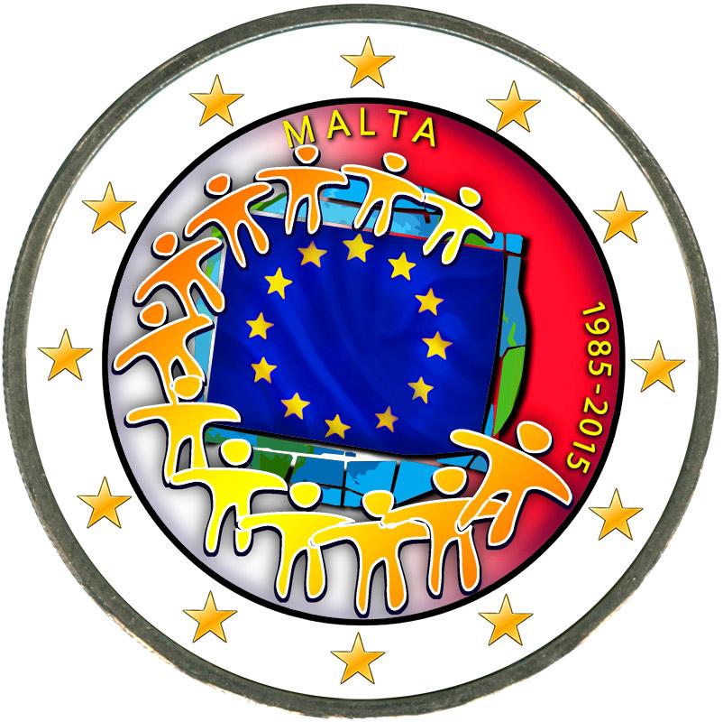 Монета номиналом 2 евро 2015 Мальта 30 лет флагу ЕС (цветная) монета номиналом 2 евро 2015 финляндия ян сибелиус цветная