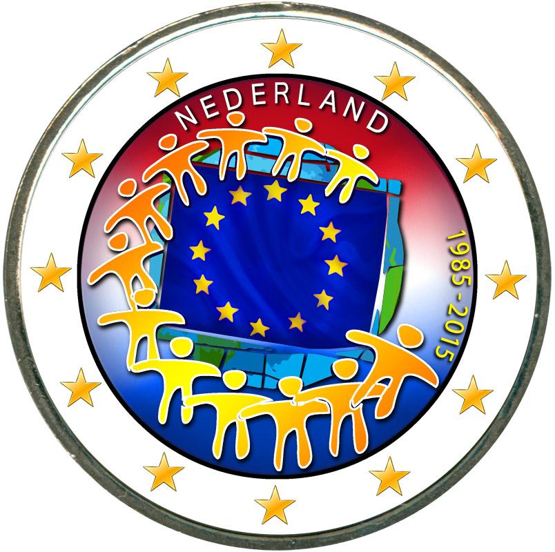 Монета номиналом 2 евро 2015 Нидерланды 30 лет флагу ЕС (цветная) монета номиналом 2 евро 2015 финляндия ян сибелиус цветная