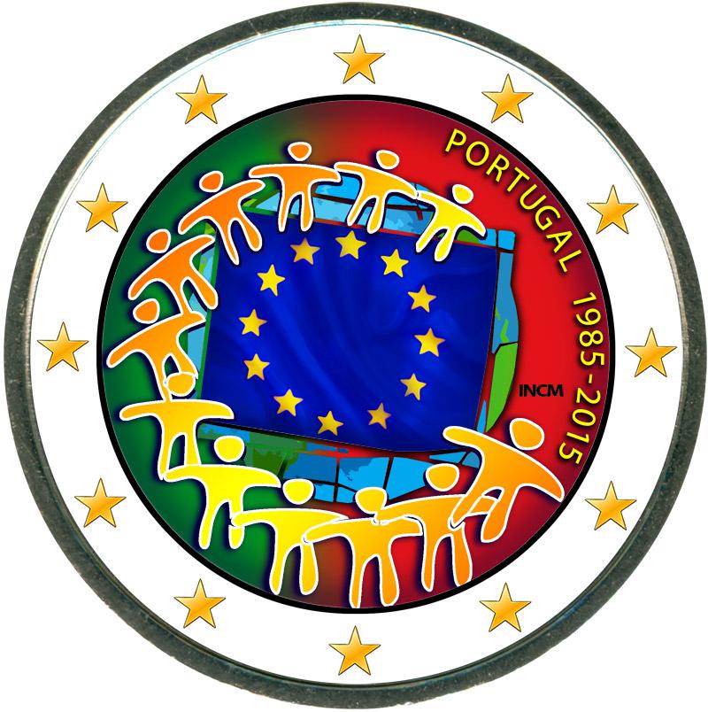 Монета номиналом 2 евро 2015 Португалия 30 лет флагу ЕС (цветная) монета номиналом 2 евро 2015 финляндия ян сибелиус цветная