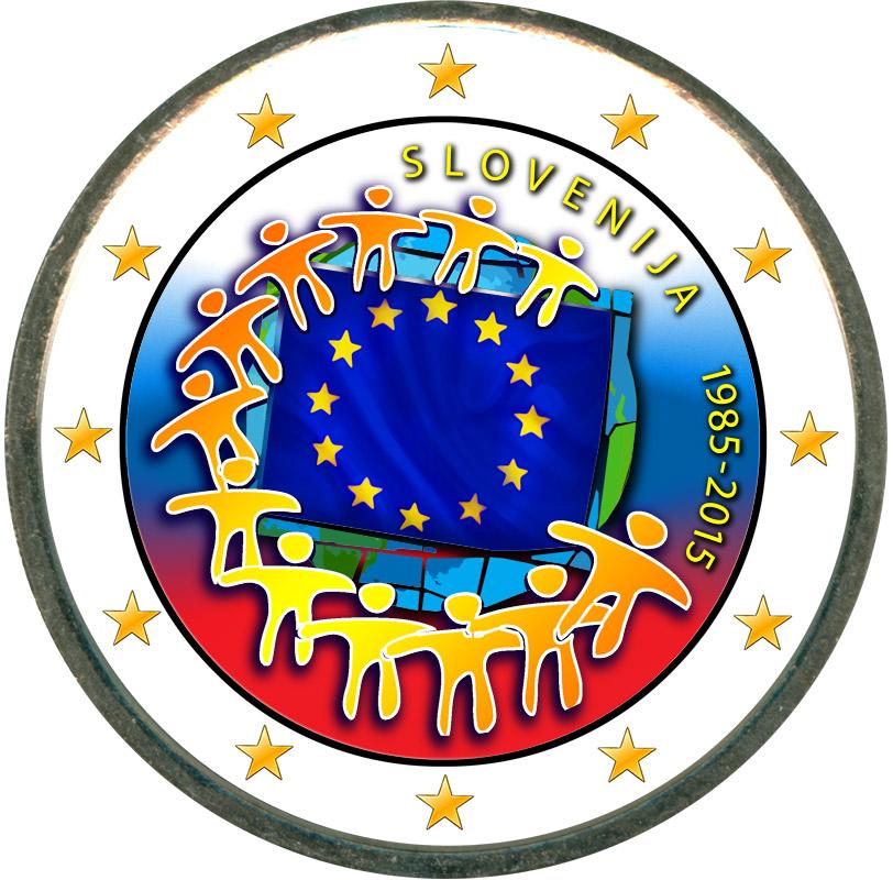 Монета номиналом 2 евро 2015 Словения 30 лет флагу ЕС (цветная) монета номиналом 2 евро 2015 финляндия ян сибелиус цветная