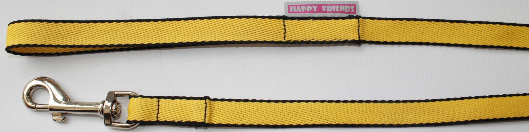 Поводок для собак Happy Friends, цвет: желтый, ширина 1 см, длина 1,20 м поводок для собак happy house luxury цвет темно коричневый длина 125 см