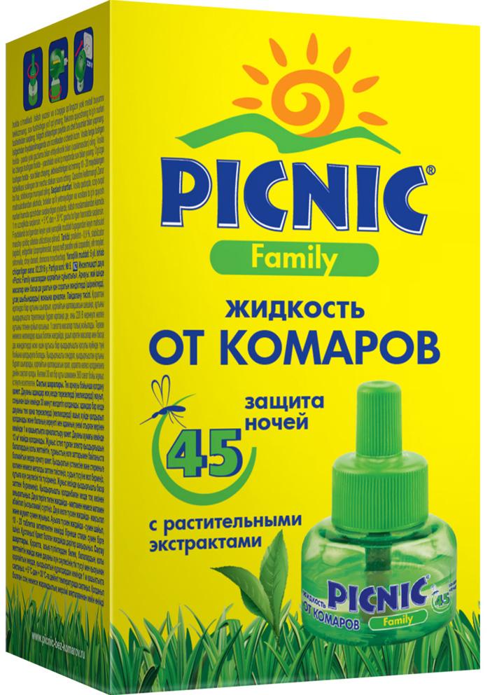 Жидкость от комаров Picnic Family на 45 ночей, не вызывает аллергических реакций, 30 мл