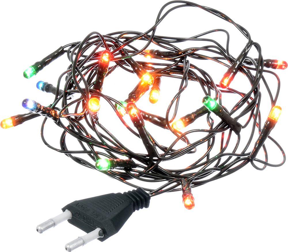 """Электрическая гирлянда Vegas """"Нить"""", 220 v, 20 ламп """"рис"""", зеленый провод, свет: разноцветный, 2 м"""
