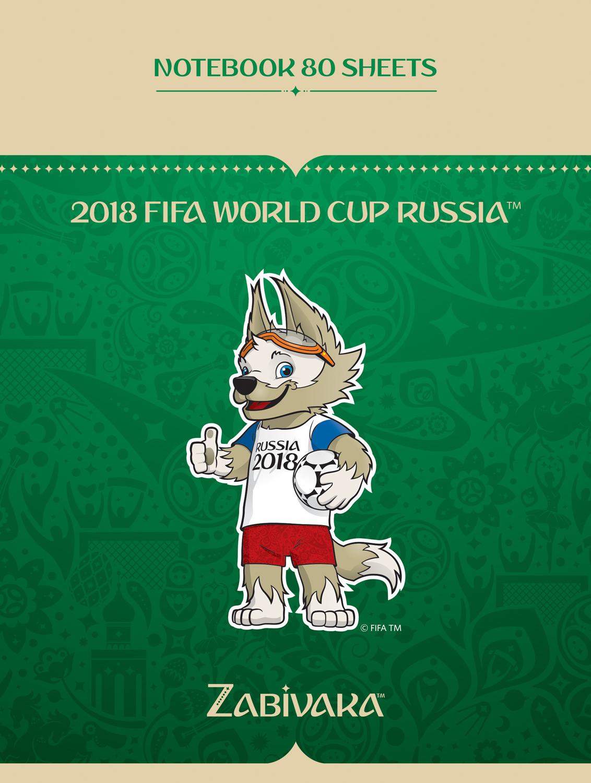 FIFA-2018Блокнот ЧМ по футболу 2018 Талисман цвет зеленый 80 листов FIFA-2018