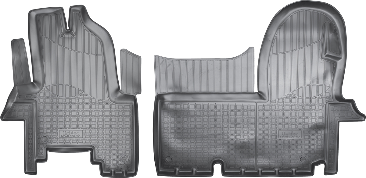 Ковры автомобильные NorPlast, в салон, для IVECO Daily, 2006-2011, IV, полиуретанNPA11-C36-100Прочные и долговечные коврики в салон автомобиля NorPlast, изготовленный из высококачественного и экологичного сырья, полностью повторяет геометрию салона автомобиля. - Надежная система крепления, позволяющая закрепить коврик на штатные элементы фиксации, в результате чего отсутствует эффект скольжения по салону автомобиля. - Высокая стойкость поверхности к стиранию. - Специализированный рисунок и высокий борт, препятствующие распространению грязи и жидкости по поверхности коврика. - Перемычка задних ковриков в комплекте предотвращает загрязнение тоннеля карданного вала. - Произведены из первичных материалов, в результате чего отсутствует неприятный запах в салоне автомобиля. - Высокая эластичность, можно беспрепятственно эксплуатировать при температуре от -45°C до +45°C.