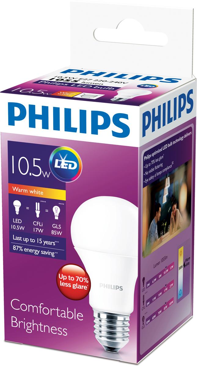 Лампа светодиодная Philips Premium, цоколь E27, 10,5W, 3000К люминесцентные лампы для растений philips