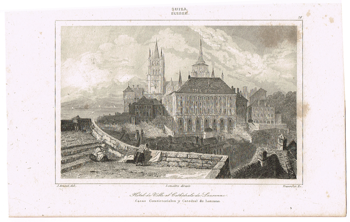 Ратуша и Лозаннский собор, Швейцария-1. Гравюра. Франция, середина XIX века
