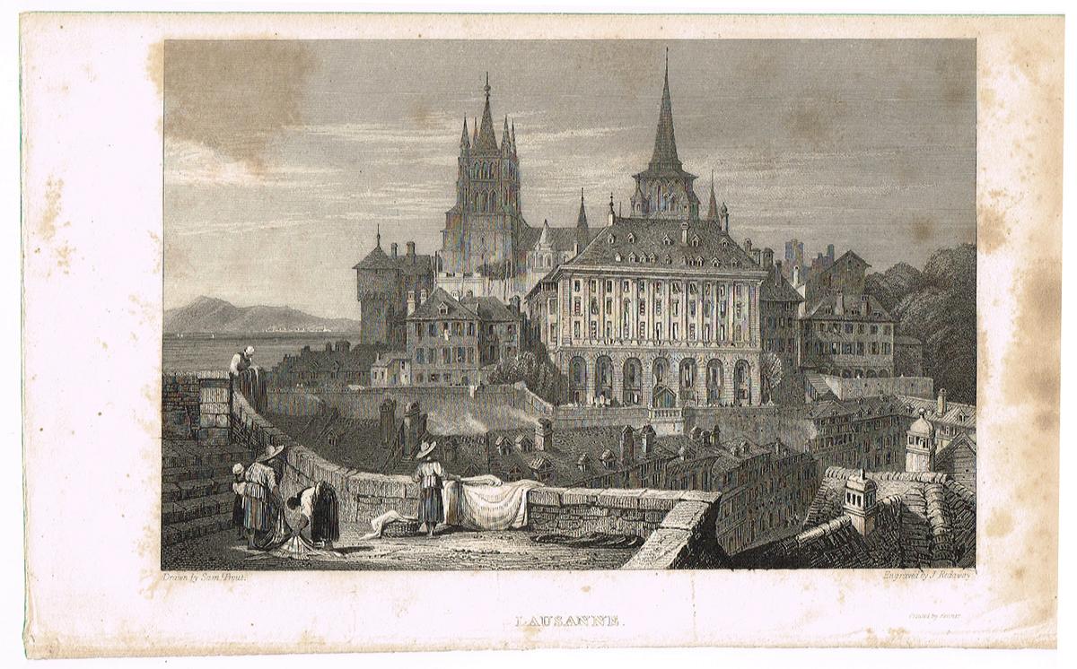 Вид на ратушу и собор Лозанны, Швейцария - 13. Гравюра. Западная Европа, 1829 год вид на замок форт лозанны 3 vue du chateau fort de lausanne гравюра франция 1830 е гг