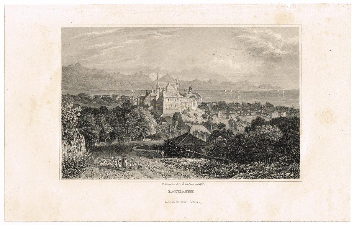 Вид на собор Лозанны со стороны гор, Швейцария - 4. Гравюра. Германия, Carlsruhe im Kunst-Verlag, 1835 год