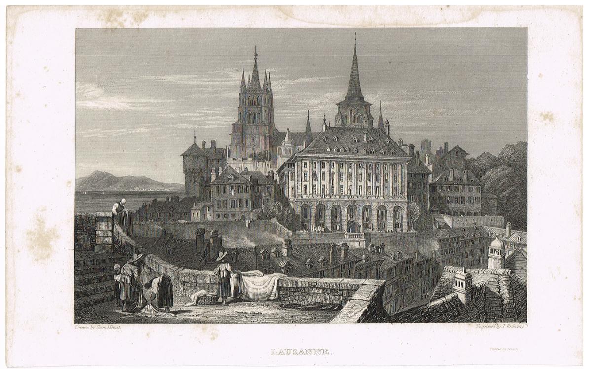 Вид на ратушу и собор Лозанны, Швейцария - 3. Гравюра. Западная Европа, 1829 год вид на замок форт лозанны 3 vue du chateau fort de lausanne гравюра франция 1830 е гг