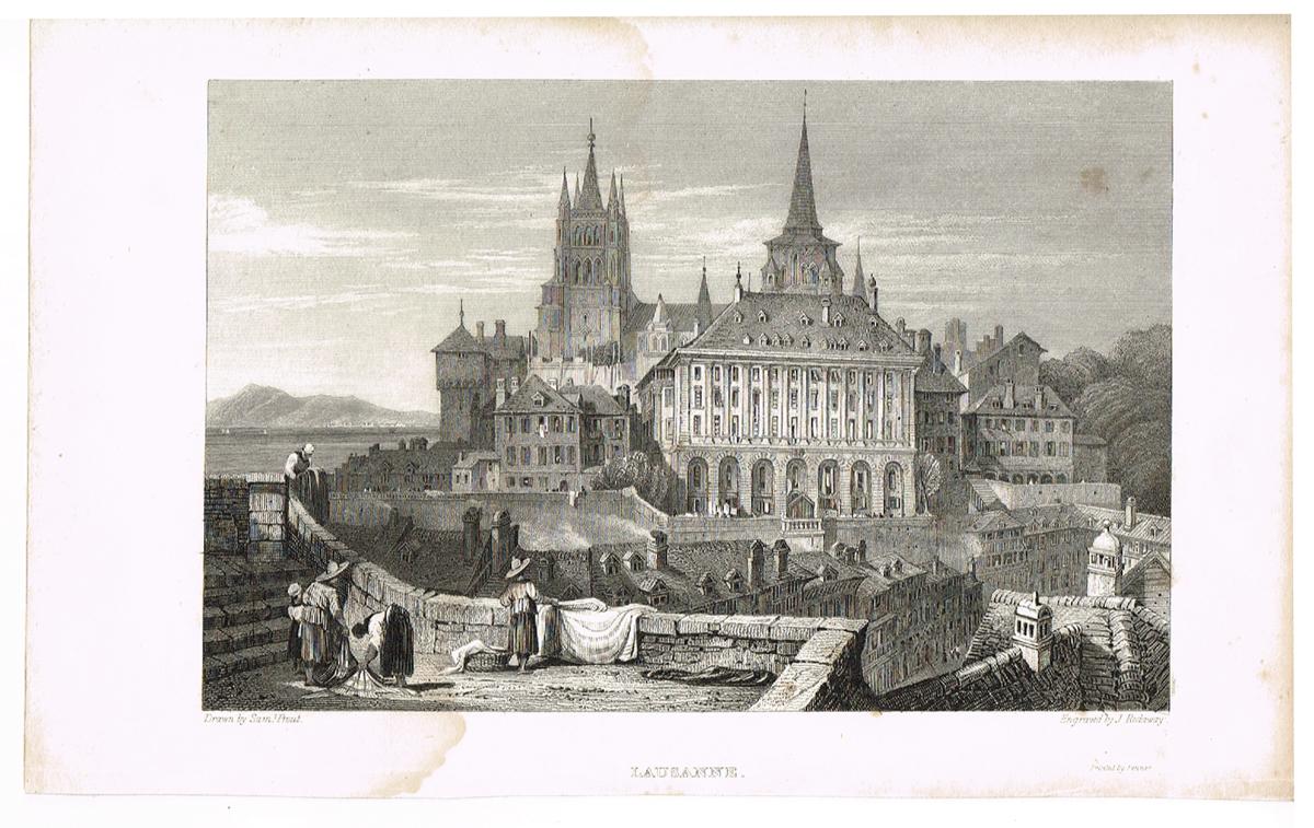 Вид на ратушу и собор Лозанны, Швейцария - 4. Гравюра. Западная Европа, 1829 год вид на замок форт лозанны 3 vue du chateau fort de lausanne гравюра франция 1830 е гг