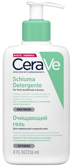 CeraVeОчищающий гель для нормальной и жирной кожи лица и тела, 236 мл CeraVe