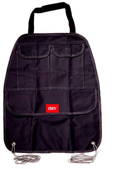 Органайзер на спинку переднего сиденья iSky, полиэстер, цвет: черный, 52 x 42 см органайзер с крышкой в багажник isky полиэстер цвет черный 51 x 31 х 31 см