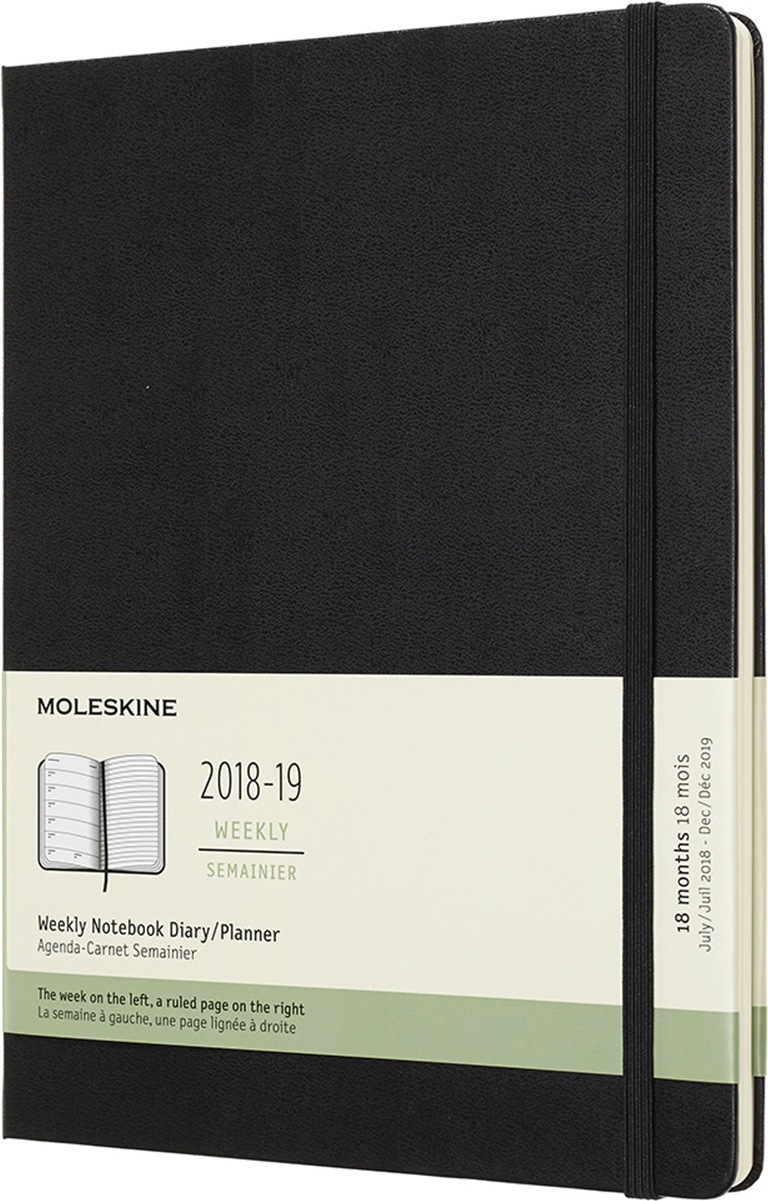 Moleskine Еженедельник Academic Wknt Xl 19 x 25 см 104 листа в линейку цвет черный еженедельник moleskine classic wknt xl 190х250мм 144стр черный