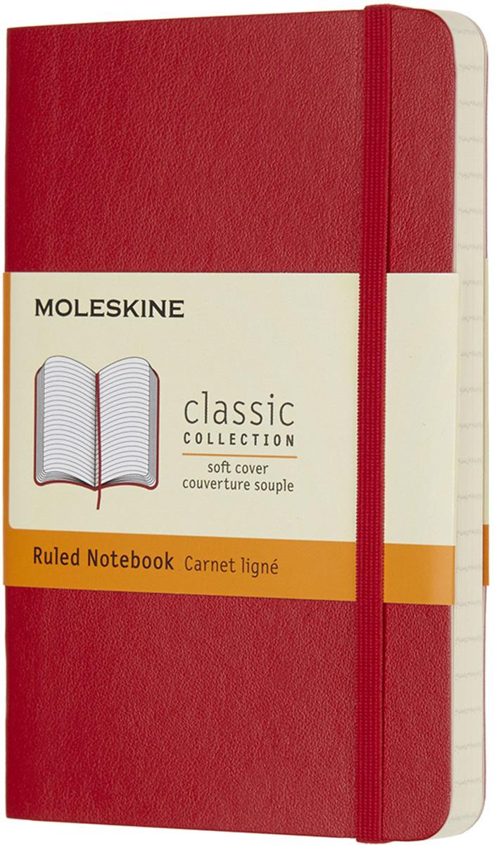 Moleskine Блокнот Classic Soft 9 x 14 см 96 листов в линейку цвет красный