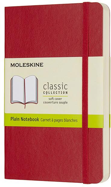 Moleskine Блокнот Classic Soft Pocket 9 x 14 см 96 листов нелинованный цвет красный