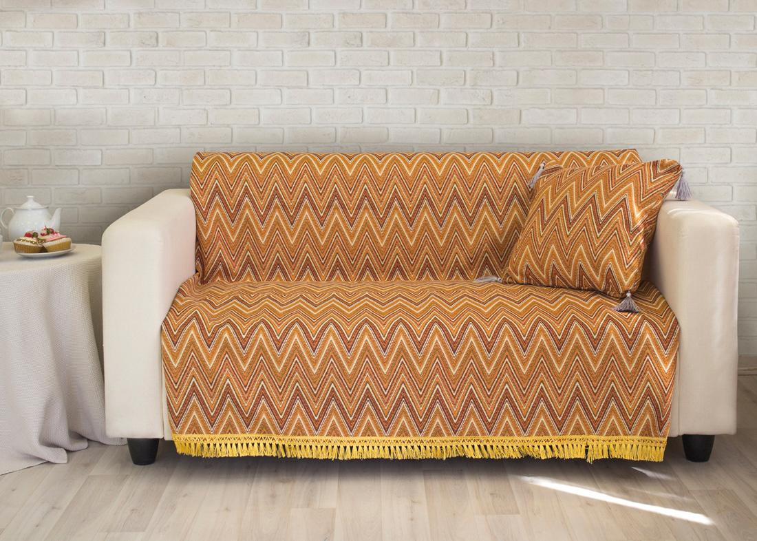 "Покрывало на диван Les Gobelins ""Zigzag"", цвет: коричневый, 160 х 200 см"
