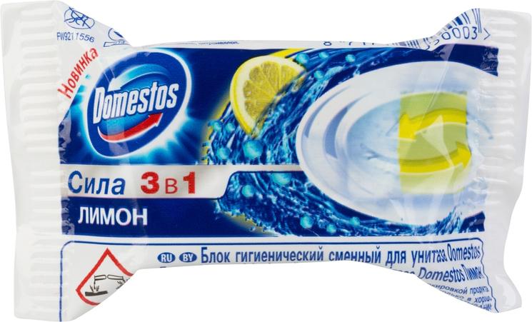 Блок гигиенический Domestos Лимон, сменный, 40 г блок для унитаза domestos сила 3 в 1 хвоя 40 г