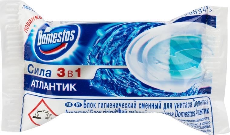 Domestos Блок гигиенический для унитаза, сменный, атлантик, 40 г блок для унитаза domestos сила 3 в 1 хвоя 40 г