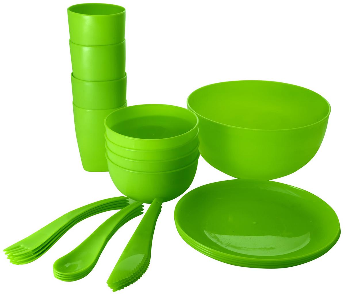 Набор для пикника и барбекю Plastic Centre, на 4 персоны, цвет: лайм набор для пикника идеал plastic centre на 6 персон 38 предметов