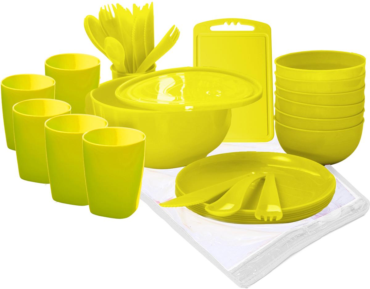 Набор для пикника Plastic Centre Пир, на 6 персон, цвет: лимон, 38 предмета
