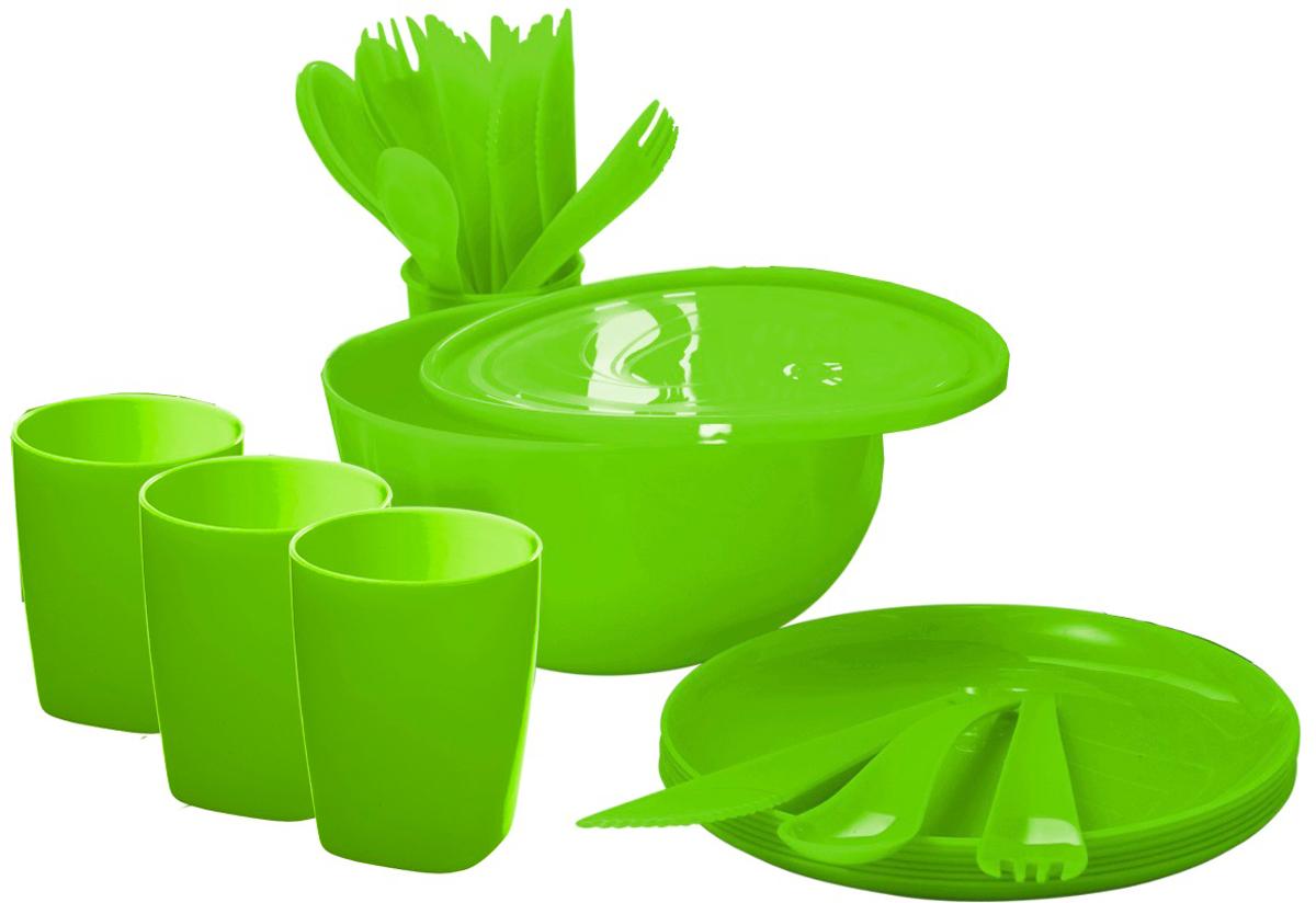 Набор для пикника Plastic Centre Дачный, на 4 персоны, цвет: лайм набор для пикника идеал plastic centre на 6 персон 38 предметов