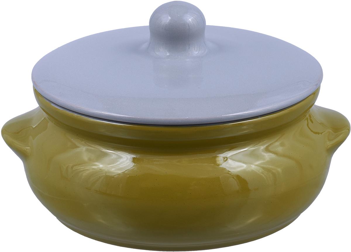 Горшок для запекания Борисовская керамика Радуга, цвет: зеленый, серый, 700 мл горшок для запекания борисовская керамика радуга с крышкой цвет голубой желтый 700 мл