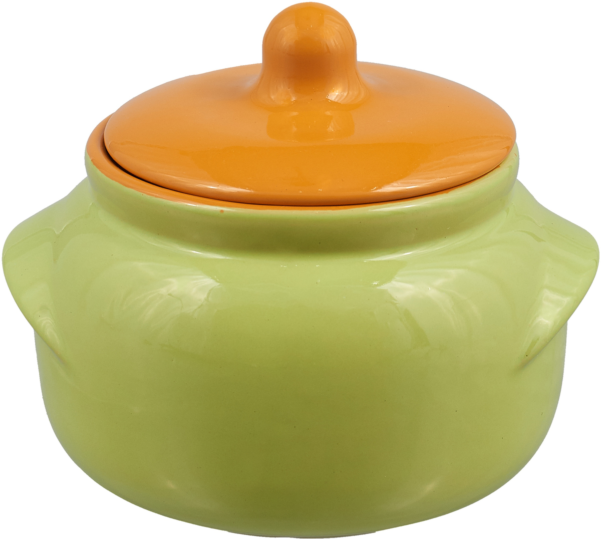 Горшочек для запекания Борисовская керамика Новарусса, цвет: салатовый, оранжевый, 500 мл горшочек для запекания борисовская керамика мечта хозяйки цвет зеленый розовый 350 мл