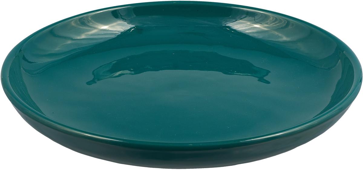 """Тарелка Борисовская керамика """"Радуга"""", цвет: темный изумруд, диаметр 18 см"""