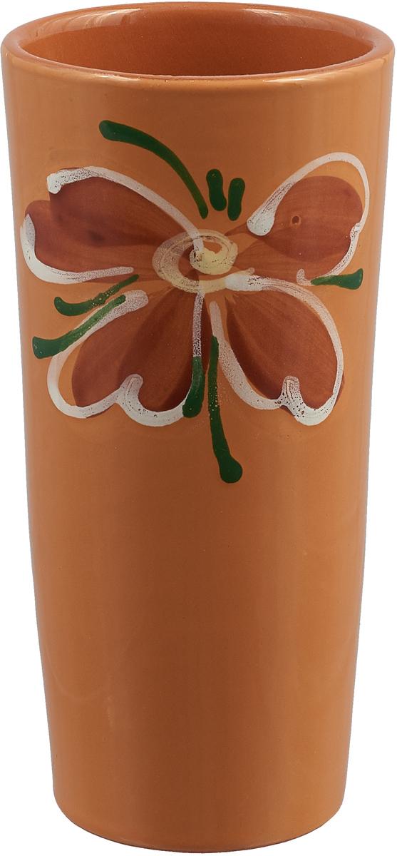 """Вазон-стакан Борисовская керамика """"Cтандарт. Цветок"""", цвет: светло-коричневый, 400 мл"""