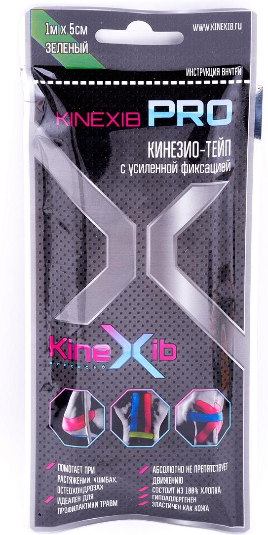 Кинезио-тейп Kinexib Pro, цвет: зеленый, 1 м х 5 см адгезивный тейп mueller 130106 m tape 5 0 х 13 7 м
