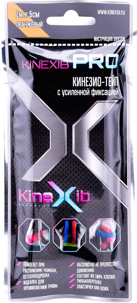 Кинезио-тейп Kinexib Pro, цвет: оранжевый, 1 м х 5 см адгезивный тейп mueller 130106 m tape 5 0 х 13 7 м