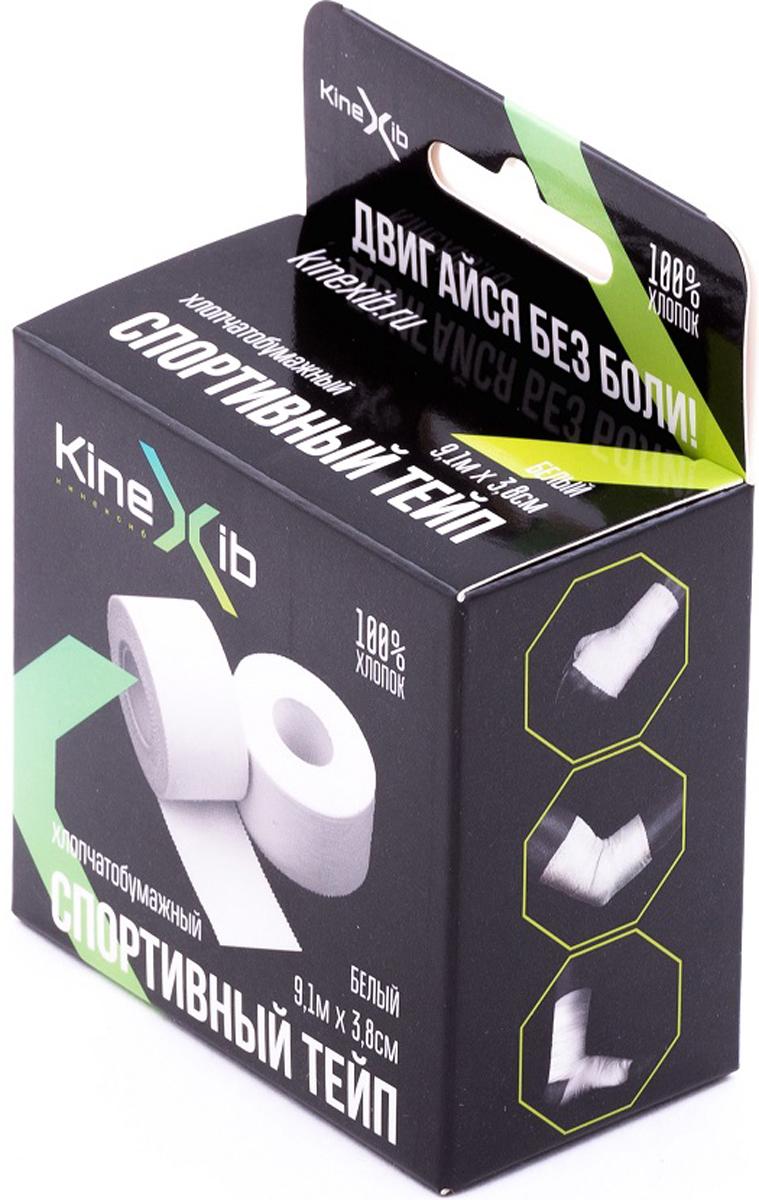 Тейп спортивный Kinexib, цвет: белый, 9,1 м х 3,8 см адгезивный тейп mueller 130106 m tape 5 0 х 13 7 м