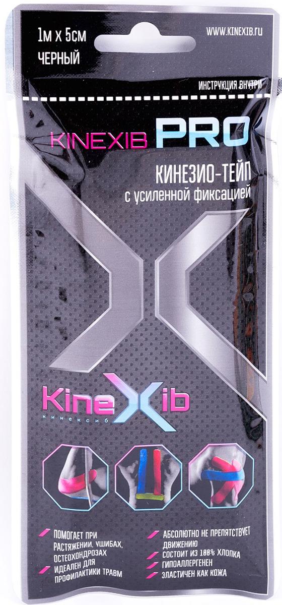 Кинезио-тейп Kinexib Pro, цвет: черный, 1 м х 5 см адгезивный тейп mueller 130106 m tape 5 0 х 13 7 м