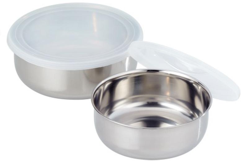 Набор емкостей для хранения продуктов GSW, цвет: серебристый, 2 шт неактивный набор емкостей для приготовления и хранения продуктов с крышками голубой муар 18 12 7 14 9 5 см цв у