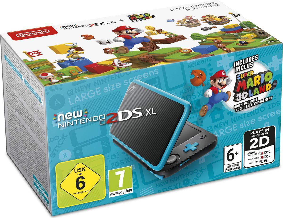 Игровая приставка New Nintendo 2DS XL, Black Turquoise + Super Mario 3D Land игровая приставка new nintendo 2ds xl black turquoise super mario 3d land