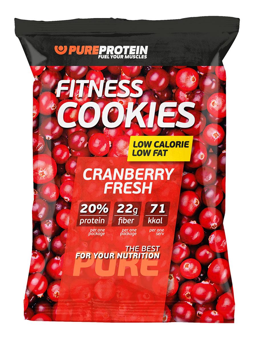 Фитнес печенье PureProtein Fitness Cookies, свежая клюква, 40 г печенье fuze cookies кокос 40 г