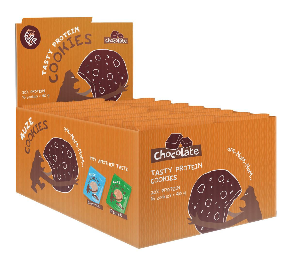 Печенье белковое шоколад Cookies Fuze, 640 г, 16 упаковок смесь для выпечки почти печенье клюква шоколад 380 г