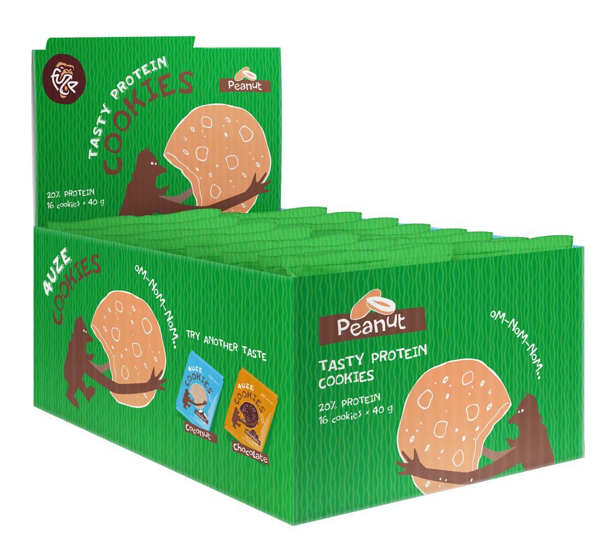 Печенье белковое Fuze Cookies, арахис, 640 г, 16 упаковок печенье fuze cookies кокос 40 г