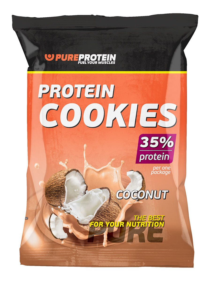 Печенье PureProtein Protein Cookies, с высоким содержанием белка, кокос, 80 г печенье fuze cookies кокос 40 г
