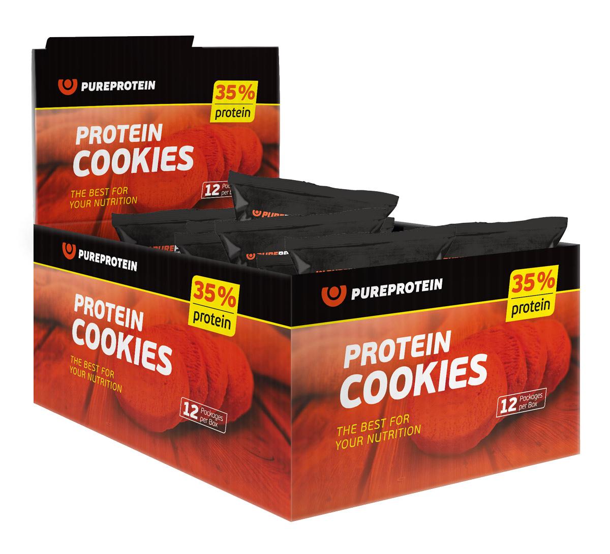 Печенье PureProtein Protein Cookies, с высоким содержанием белка, банан, кокос, шоколад, 12 шт по 80 г печенье fuze cookies кокос 40 г
