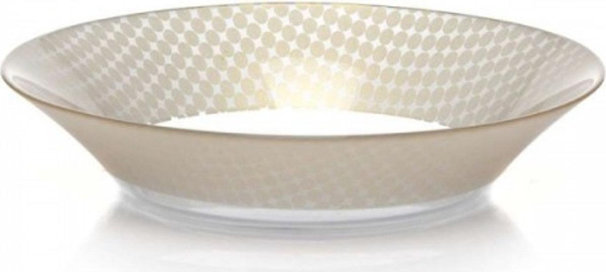 Тарелка глубокая Pasabahce Charm. Круг , цвет: бежевый, диаметр 22 см тарелка глубокая gotoff цвет фисташковый диаметр 18 5 см